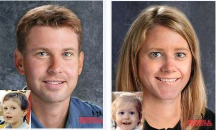 From left to right: Age progression of Christopher Zaharias to 30 years old, and sister Lisa, to 28 years old. Progressions courtesy of NCMEC.