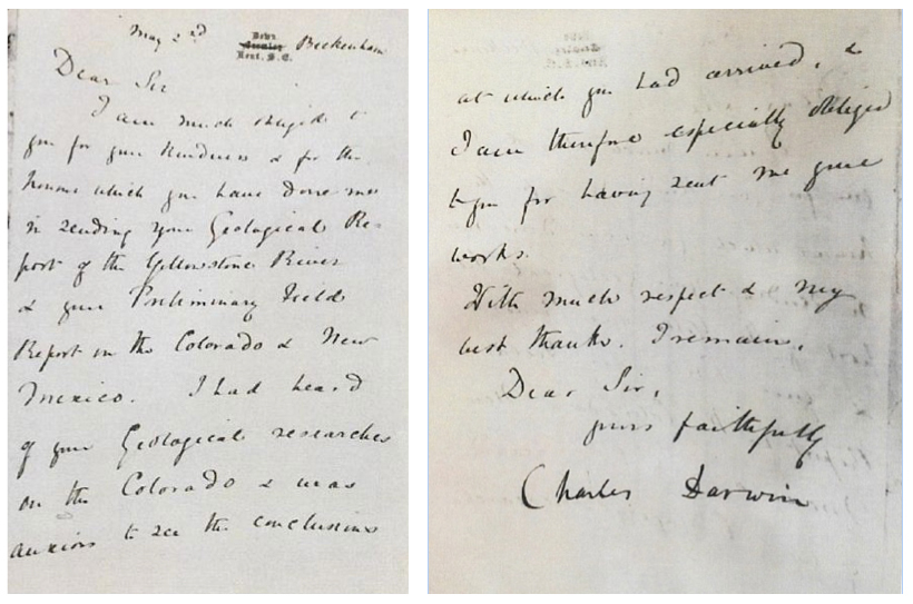 Front and back of the letter written by Charles Darwin to Ferdinand Vandeveer Hayden on May 2, 1875.